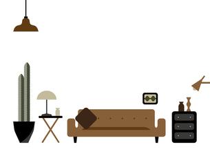 茶色いソファーとサボテンのあるリビングルームのイラスト素材 [FYI04815921]