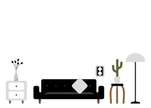黒いソファーのあるリビングルームのイラスト素材 [FYI04815922]