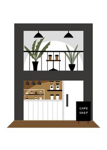 二階建ての小さなカフェのイラスト素材 [FYI04815926]
