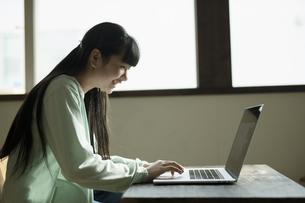 パソコンで学習する女の子の写真素材 [FYI04815929]