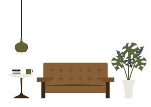 茶色のソファーとモンステラのイラスト素材 [FYI04816345]