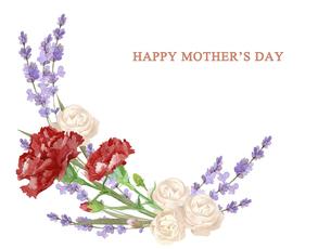 母の日カード 水彩のお花のブーケのイラスト素材 [FYI04816703]