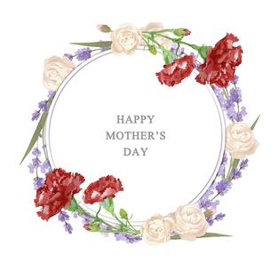 母の日カード 水彩のお花のリースのイラスト素材 [FYI04817256]