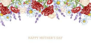 母の日カード 水彩のお花のフレームのイラスト素材 [FYI04817664]