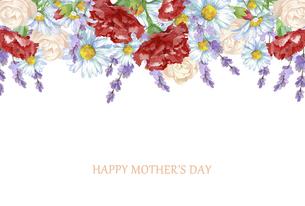 母の日カード 水彩のお花のフレームのイラスト素材 [FYI04817665]
