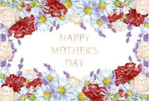 母の日カード 水彩のお花のブーケのイラスト素材 [FYI04817666]
