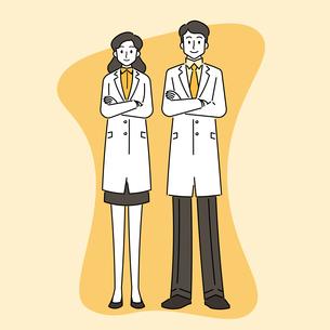 若い女性と若い男性の医師のイラスト素材 [FYI04817776]