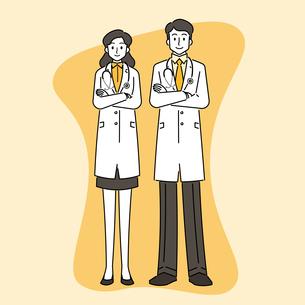 聴診器を首にかけている、若い女性と若い男性の医師のイラスト素材 [FYI04817777]