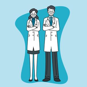 聴診器を首にかけて、マスクをしている、若い女性と若い男性の医師のイラスト素材 [FYI04817779]