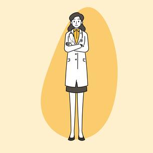 聴診器を首にかけている、若い女性の医師のイラスト素材 [FYI04817781]