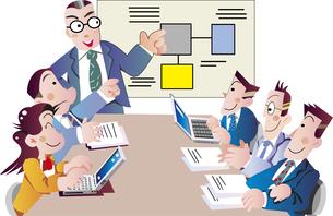 会議するビジネスマンのイラスト素材 [FYI04818173]