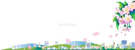 春の桜の街並みのイラスト素材 [FYI04818174]