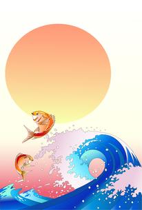 年賀イラスト素材_鯛と波と日の出のイラスト素材 [FYI04818177]