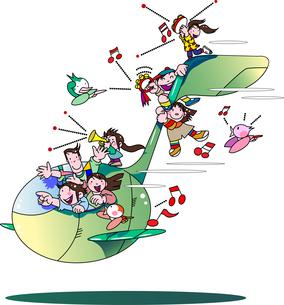 音楽を楽しむ音符の乗り物に乗った家族のイラスト素材 [FYI04818229]