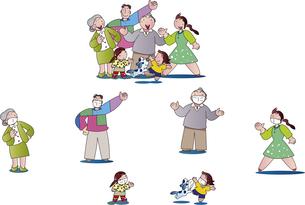 新型ウィルスの感染予防でソーシャルディスタンスをとる家族のイラスト素材 [FYI04818277]