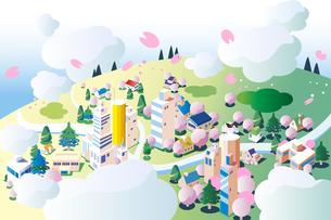 空から見た春の街並みのイラスト素材 [FYI04818278]