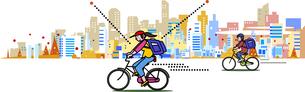 街をフードデリバリー をする自転車宅配のイラスト素材 [FYI04818289]