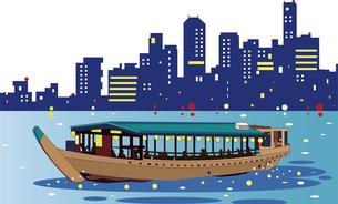 夜景と屋形船で宴会のイラスト素材 [FYI04818303]