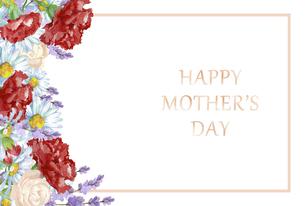 母の日カード 水彩のお花のフレームのイラスト素材 [FYI04818331]