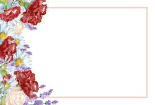 カーネーションの花束のフレームのイラスト素材 [FYI04818332]