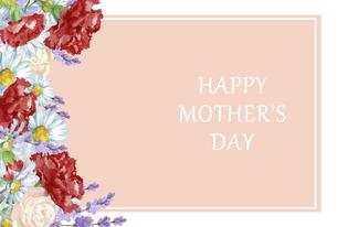 母の日カード 水彩のお花のフレームのイラスト素材 [FYI04818333]
