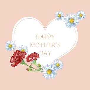 母の日カード 水彩のお花のハートフレームのイラスト素材 [FYI04818335]