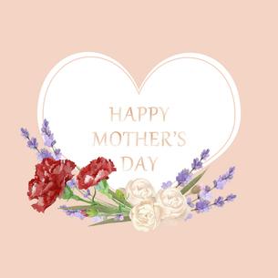 母の日カード 水彩のお花のハートフレームのイラスト素材 [FYI04818338]