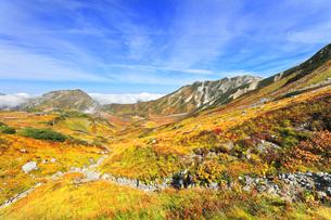 秋の立山 紅葉の室堂平と浄土沢の写真素材 [FYI04818560]