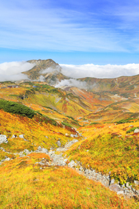 秋の立山 紅葉の室堂平と浄土沢の写真素材 [FYI04818564]