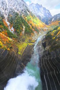 秋の黒部峡谷 紅葉の山並みに雪の写真素材 [FYI04818902]
