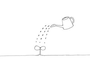 芽とジョウロの手描き線画イラストのイラスト素材 [FYI04819678]