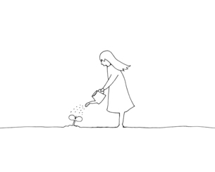 水やりをする少女 線画イラストのイラスト素材 [FYI04819679]