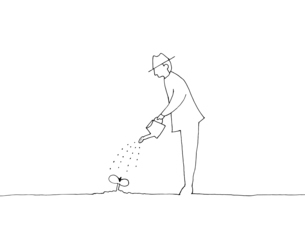 水やりをする男性 線画イラストのイラスト素材 [FYI04819680]