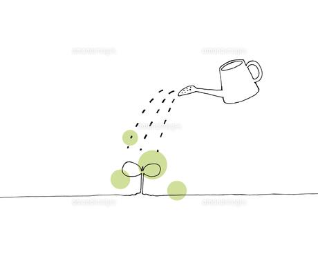 芽とジョウロの手描き線画イラストのイラスト素材 [FYI04819681]