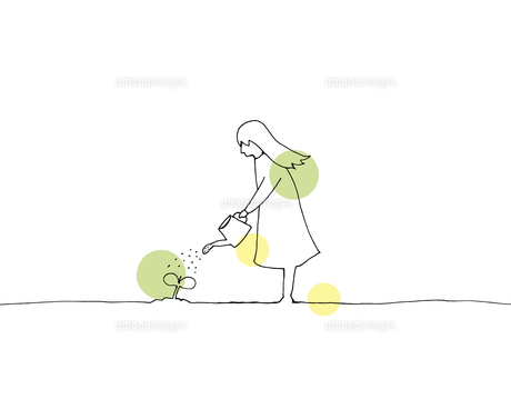 水やりをする少女 線画イラストのイラスト素材 [FYI04819682]