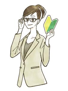 初心者マークを持っているスーツ姿の女性のイラスト素材 [FYI04820096]