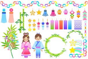 カラフルな七夕飾りのイラストセットのイラスト素材 [FYI04820172]