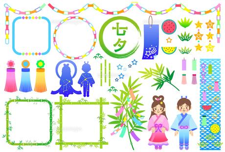 カラフルな七夕飾りのイラストセットのイラスト素材 [FYI04820174]