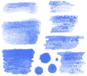 筆書きした線のイラストセット【青色】のイラスト素材 [FYI04820177]