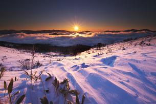 屈斜路湖の日の出と雪紋の写真素材 [FYI04820209]