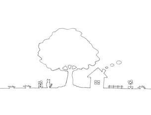 木の下の家の風景 線画イラストのイラスト素材 [FYI04820504]