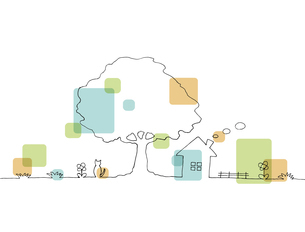 木の下の家の風景 線画イラストのイラスト素材 [FYI04820505]
