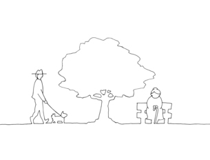 木の下の人々 手描き線画イラストのイラスト素材 [FYI04820506]