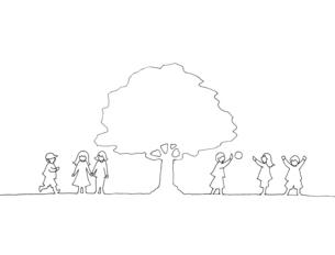 木の下で遊ぶ子どもたち 線画イラストのイラスト素材 [FYI04820508]