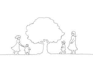 木の下の人々 手描き線画イラストのイラスト素材 [FYI04820519]