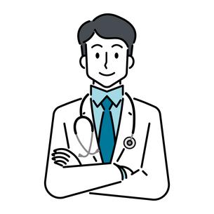 聴診器を首にかけている、若い男性の医師のイラスト素材 [FYI04820834]
