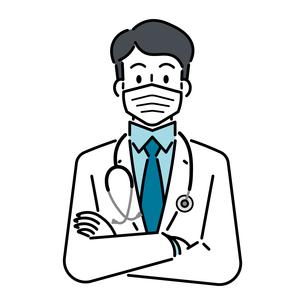 聴診器を首にかけて、マスクをしている、若い男性の医師のイラスト素材 [FYI04820835]
