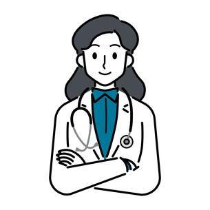 聴診器を首にかけている、若い女性の医師のイラスト素材 [FYI04820836]