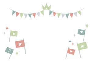 パステルカラーのパーティー飾りセットのイラスト素材 [FYI04820843]