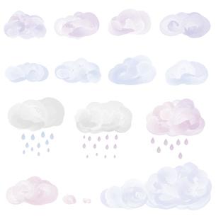 水彩画風の雲と雨イラストセットのイラスト素材 [FYI04820971]